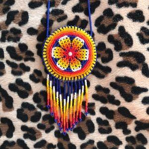 Jewelry - Huichol handmade beaded medicine pill bag necklace